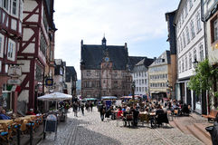 Market square in Marburg, Hesse, Germany. Market square with historical Town Hall Rathaus in Marburg, Hesse, Germany Stock Photography