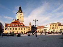 Market square and old City Hall, Brasov, Transilvania, Romania Royalty Free Stock Photography