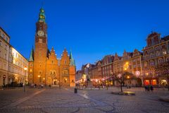 Market Squarel in Wroclaw at dusk. Market Square with old City Hall in Wroclaw at dusk, Poland Stock Images