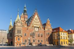 Market Square with old gothic Town Hall in Wroclaw Breslau in Poland. Market Square with old gothic Town Hall in Wroclaw Breslau, Poland royalty free stock image