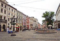 Market Square of Old Lviv Royalty Free Stock Photo