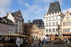 The Market square in the old town of Trier city in Germany. Trier is the oldest city in Germany. Market square is situated in the center of the Trier`s old town royalty free stock photo