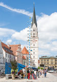 Market square in Pfaffenhofen. PFAFFENHOFEN, GERMANY - JULY 29: People at a traditional bavarian market in Pfaffenhofen, Germany on July 29, 2017 stock photo