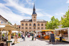 Market square in Pfaffenhofen. PFAFFENHOFEN, GERMANY - JULY 29: People at a traditional bavarian market in Pfaffenhofen, Germany on July 29, 2017 stock images