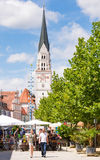 Market square in Pfaffenhofen. PFAFFENHOFEN, GERMANY - JULY 29: People at a traditional bavarian market in Pfaffenhofen, Germany on July 29, 2017 stock photography