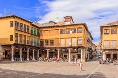 The market square (Plaza Mayor) in Tordesillas, Spain. Stock Image