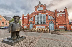 Market Square with Policeman statue Toripolliisi  in Oulu Royalty Free Stock Photo