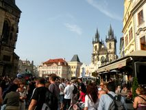Market Square in Prague 7. Prague, an exceptional tourist destination. Beautiful buildings and monuments in the city center. Old Town with the city and houses royalty free stock photography