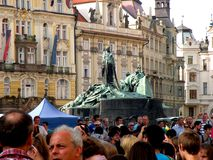 Market Square in Prague 9. Prague, an exceptional tourist destination. Beautiful buildings and monuments in the city center. Old Town with the city and houses royalty free stock photo