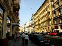 Market Square in Prague 11. Prague, an exceptional tourist destination. Beautiful buildings and monuments in the city center. Old Town with the city and houses stock photos