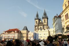 Market Square in Prague 14. Prague, an exceptional tourist destination. Beautiful buildings and monuments in the city center. Old Town with the city and houses royalty free stock photos