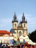 Market Square in Prague 15. Prague, an exceptional tourist destination. Beautiful buildings and monuments in the city center. Old Town with the city and houses Stock Photography