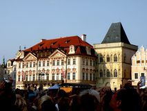 Market Square in Prague 14. Prague, an exceptional tourist destination. Beautiful buildings and monuments in the city center. Old Town with the city and houses stock image