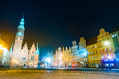 The Market Square Rynek Ratusz in Wroclaw at night Royalty Free Stock Photo