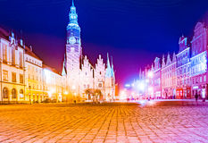 The Market Square Rynek Ratusz in Wroclaw at night Stock Images