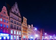 The Market Square Rynek Ratusz in Wroclaw at night Royalty Free Stock Image