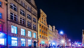 The Market Square Rynek Ratusz in Wroclaw at night Stock Photos