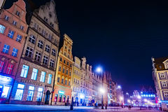 The Market Square Rynek Ratusz in Wroclaw at night Royalty Free Stock Images