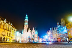 The Market Square Rynek Ratusz in Wroclaw at night Stock Photography