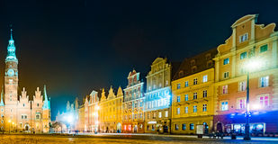The Market Square Rynek Ratusz in Wroclaw at night Royalty Free Stock Photos