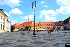 Market square in Sibiu, European Capital of Culture for the year 2007 Royalty Free Stock Image