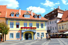 Market square in Sibiu, European Capital of Culture for the year 2007 Royalty Free Stock Images