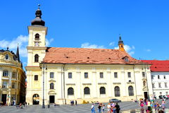 Market square in Sibiu, European Capital of Culture for the year 2007 Royalty Free Stock Photo