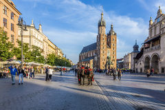 Market Square and St. Mary's Basilica in Kraków Royalty Free Stock Photo