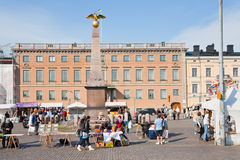 Market Square and  stern obelisk in Helsinki Stock Images