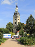 Market square and town church in Genthin, Germany Stock Photo