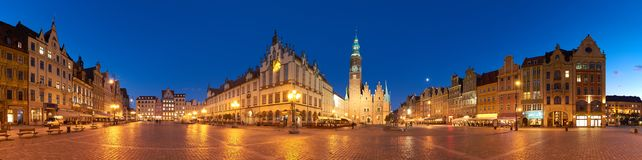 Market square and Town Hall at night in Wroclaw, Poland Royalty Free Stock Images