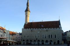 Market square and Town Hall, Tallinn, Estonia. The town hall was built in the 13th century and is in the gothic style. It sits in the market square. In Royalty Free Stock Photos