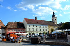 Market Square. Typical urban landscape in the city Sibiu, Transylvania Royalty Free Stock Image