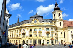 Market Square. Typical urban landscape in Sibiu, Transylvania. Sibiu is one of the most important cultural centres of Romania and was designated the European Stock Photos