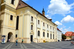 Market Square. Typical urban landscape in Sibiu, Transylvania. Sibiu is one of the most important cultural centres of Romania and was designated the European Royalty Free Stock Image