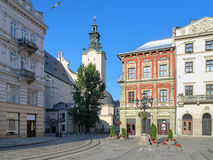 Market Square and view of Latin Cathedral in Lviv Stock Photos