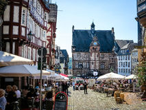 Market Square With Historical Town Hall In University City Of Marburg, Germany Stock Image