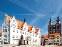 Market square in Wittenberg Monument of Martin Luther Royalty Free Stock Photos