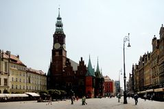 Market Square and Wroclaw Town Hall Stock Photos