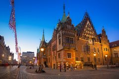 Market Squarel in Wroclaw at dusk. Market Square with old City Hall in Wroclaw at dusk, Poland Royalty Free Stock Photo