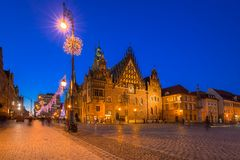 Market Squarel in Wroclaw at dusk. Market Square with old City Hall in Wroclaw at dusk, Poland Stock Image