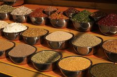 Market Stall. Bowls of pulses and spices on a market stall in Ahmadabad, Gujarat, India royalty free stock photography