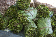 Betal Leaf - Narcotics - Myanmar (Burma). A market stall in Bagan in Myanmar selling Betal Leaf and Paan. Paan is a stimulating; psychoactive preparation of Stock Image