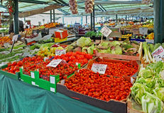 Market stall. Big market stall on large outdoor food market royalty free stock images