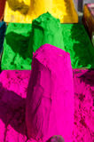 Market stall with bright colors to paint. In India Stock Images