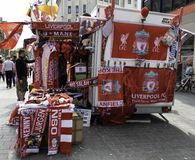 A market stall in central Liverpool selling Liverpool Footclub m. Erchandise on the day of the UEFA Champions League Final May 2018 Royalty Free Stock Images