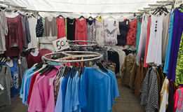Market stall for cheap clothes. At Vetlanda, Sweden stock photo