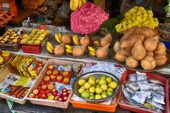 Market Stall in Tamil Nadu. Market stall in Chennai with a variety of spices, drinks and sweetmeats Stock Images