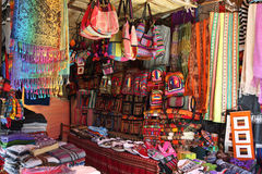 Market stall with colorful indigenous clothes, Argentina Royalty Free Stock Photos