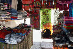 Market stall with colorful indigenous clothes, Argentina Royalty Free Stock Photo